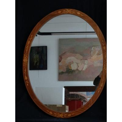 """oval Mirror In Marquetry"""