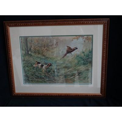 """hunting Scene"", Watercolor By Fernand Maissen"