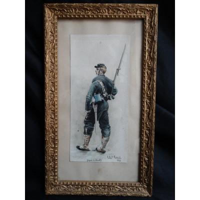 """""""Militaire en tenue """" aquarelle de 1897 par A de Saint Maresville"""