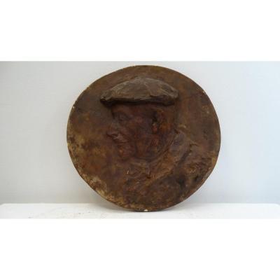 """""""jean-baptiste Carpeaux"""" Plaster Medallion By Louise Clément Carpeaux"""