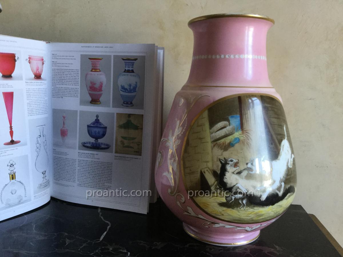 Baccarat Vase 41 Cm Signe Et Date 10/11/ 1869 Cristal Opale Double Rose Rehauts Dore