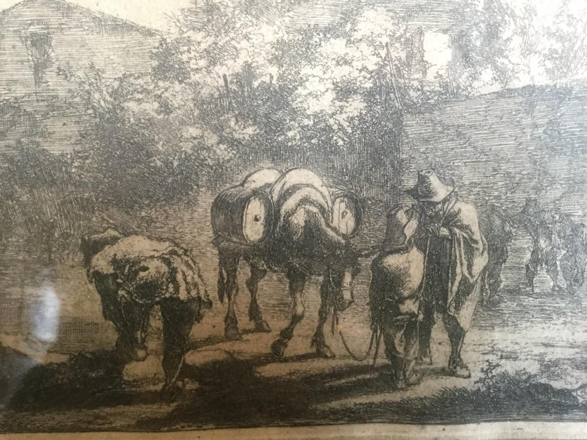 Both Jan Dirksz ( 1618-1652) Paire De Gravure De Both Jean Dirksz Avec Ses Cadres En Bois Doré -photo-3