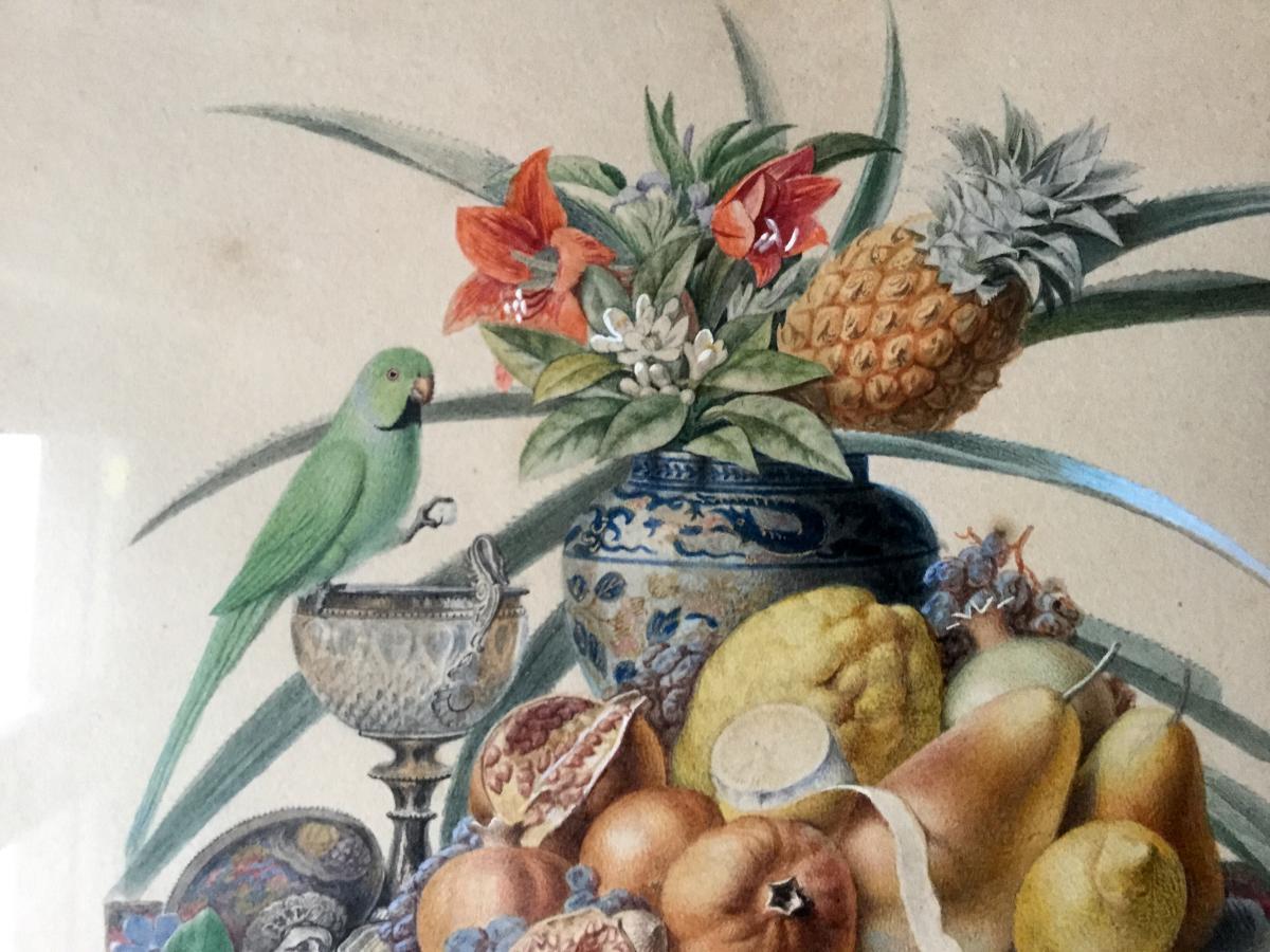 chazal antoine 1834 aquarelle nature morte avec fruits. Black Bedroom Furniture Sets. Home Design Ideas