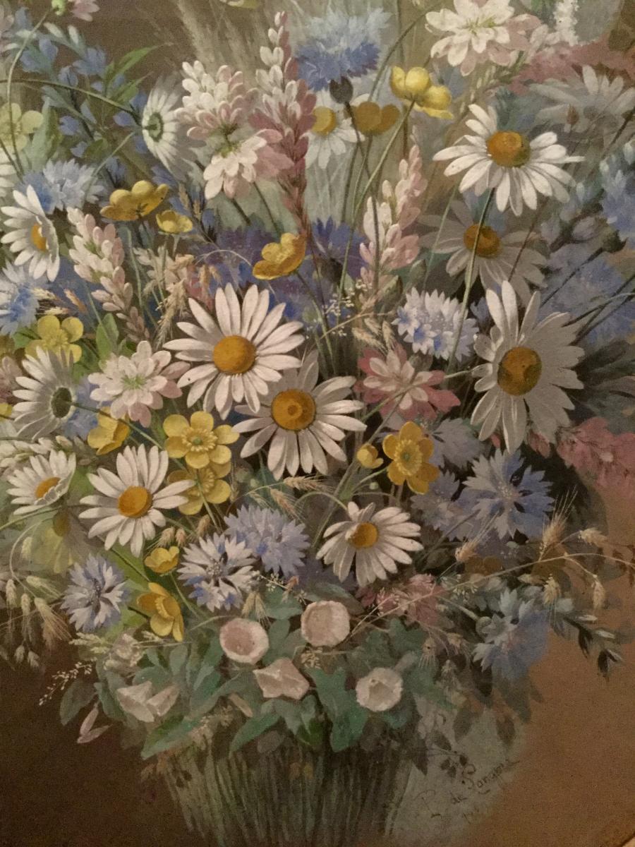 De Longpre Paul Hollywood Gouache 1880 Bouquet  Aux Marguerites  Villeurbanne Los Angeles