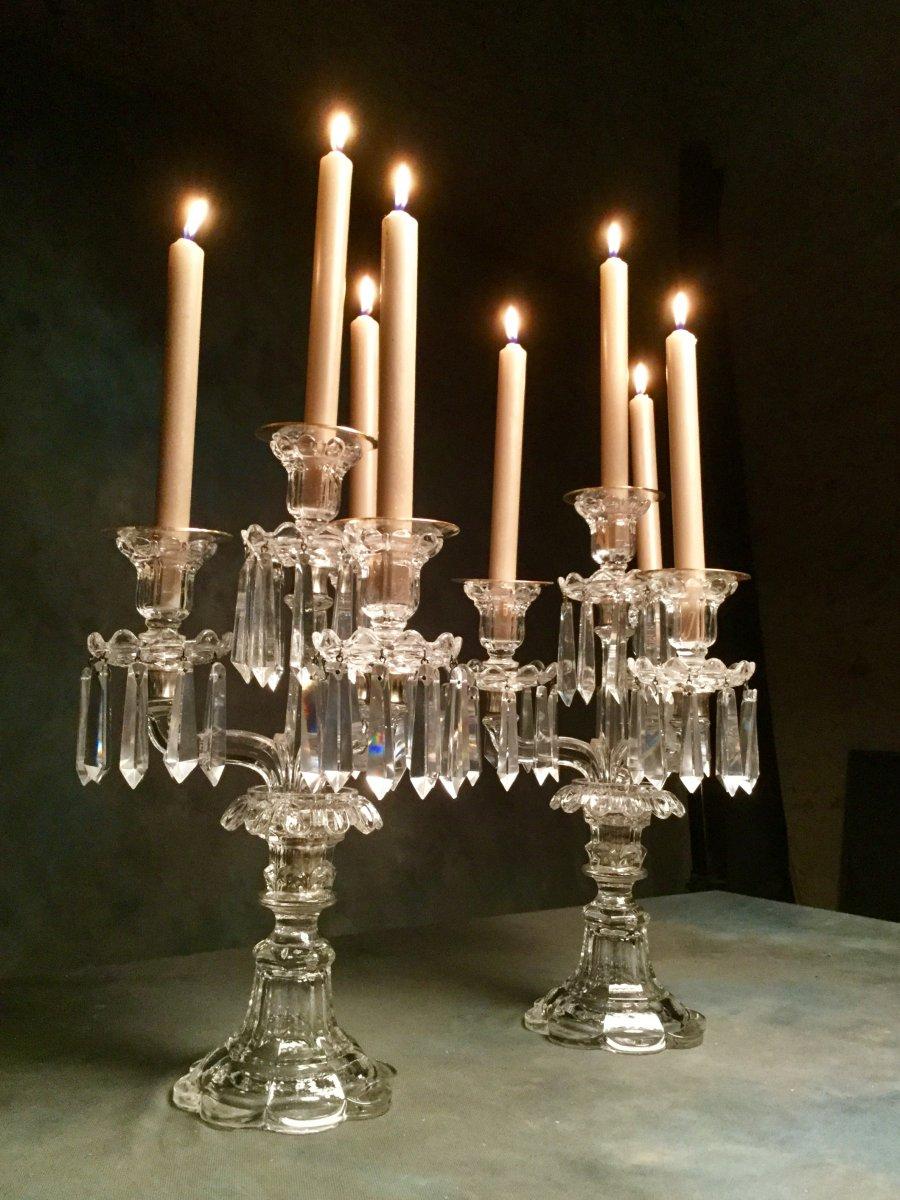 Saint Louis Paire De Candélabres Bougeoirs Girandoles à 4 Lumières Haut  39