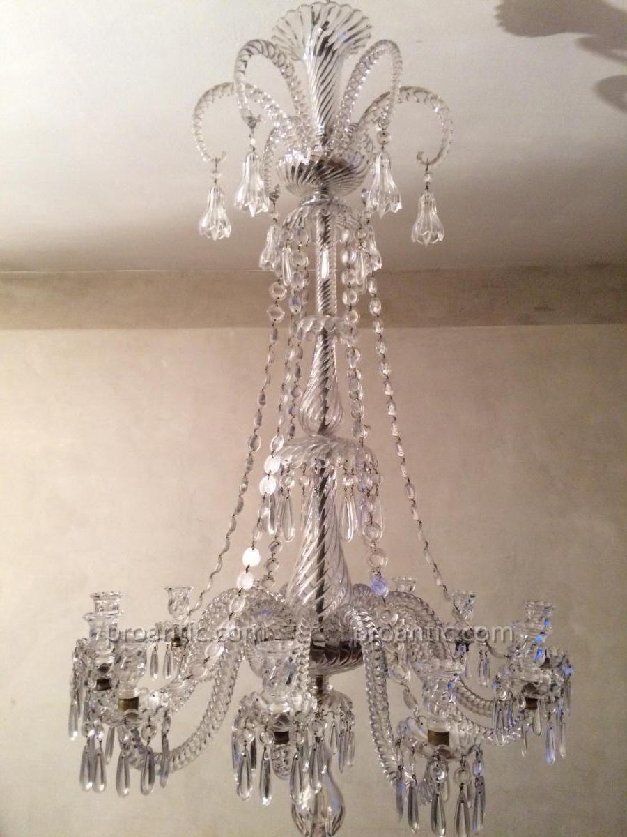 baccarat grand lustre a 12 bras de lumieres fin xix e hauteur 130 cm lustres. Black Bedroom Furniture Sets. Home Design Ideas