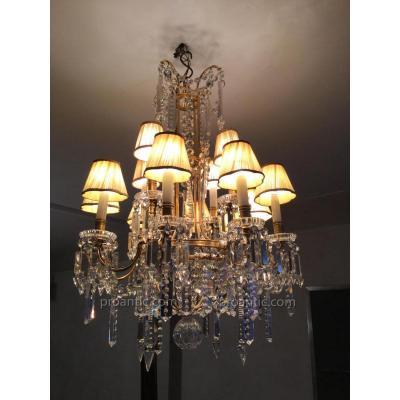 Lustre En Cristal Estampillé Dans Le Bronze  Baccarat A  12 Lumières En Bronze Dore
