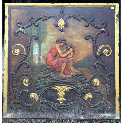 From Cast Iron Fireplace Plate XIX Painted E 100 X 99 Cm