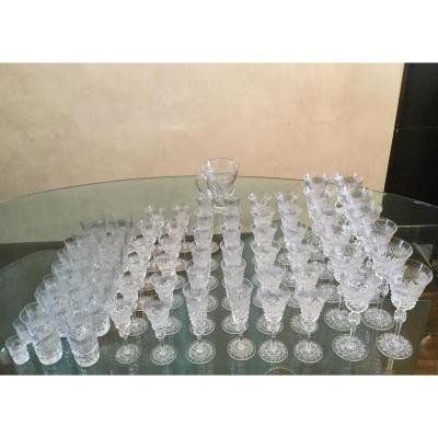 Service Cristallerie De Lorraine Taille Main 73 Pièces Verre à Vin Champagne  Cristal