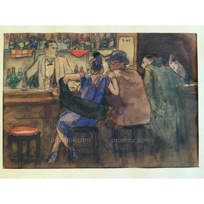 Edelmann Charles Auguste1879-1950 Soultz Alsace Aquarelle