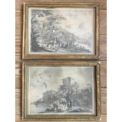 Both Jan Dirksz ( 1618-1652) Paire De Gravure De Both Jean Dirksz Avec Ses Cadres En Bois Doré