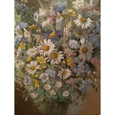 De Longpre Paul Hollywood Gouache 1880 Bouquet  Aux Marguerites  Villeurbanne Los Angeles