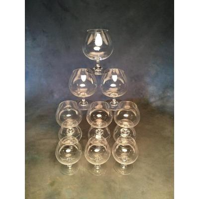 Baccarat Service à Dégustation Complet 12 Verres Hauteur 11,5 Cm Estampillés Baccarat