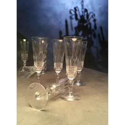 Baccarat Modèle Piccadilly Série De 8 Flûtes à Champagne