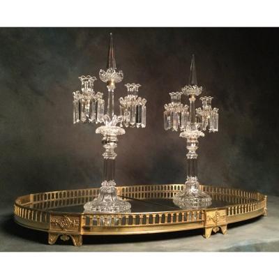 Surtout De Table En Bronze Doré Circa 1810  Avec Ses Mercures 82,5 X 56,5 Cm Tout Début XIX Eme