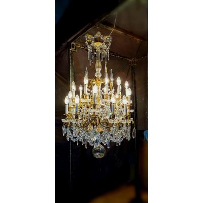 Baccarat Chandelier At 25 Lights Period Late XIX Th Gilt Bronze 120 Cm