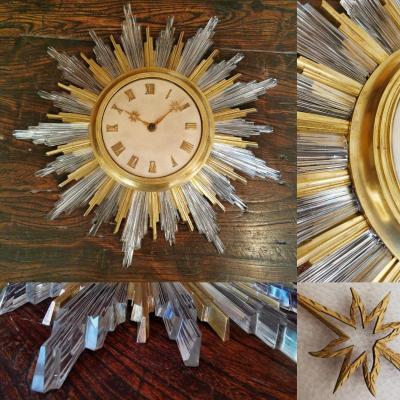 Bagues Horloge Soleil Bronze Dore Cristal Parchemin Circa 1940