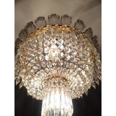 Plafonnier Cristal Signe Baccarat 35 Cm Complet Bronze Dore