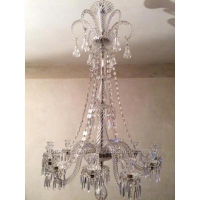 Baccarat grand lustre a 12 bras de lumieres fin xix e hauteur 130 cm