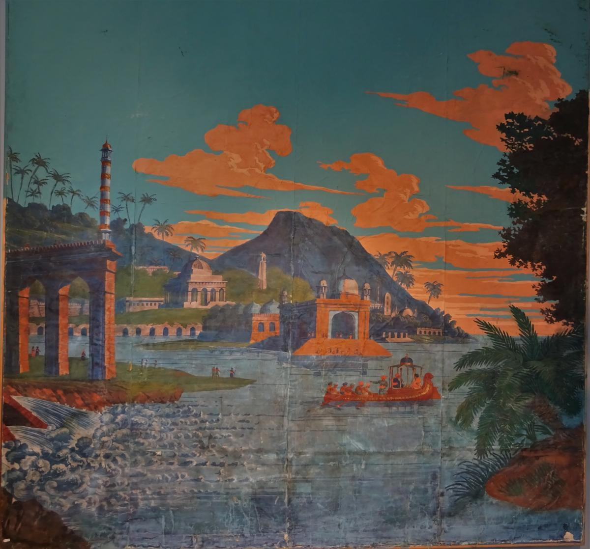 Wallpaper Painted On Canvas, Mid 19th Century