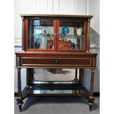 Console Vitrine Louis XVI En Acajou