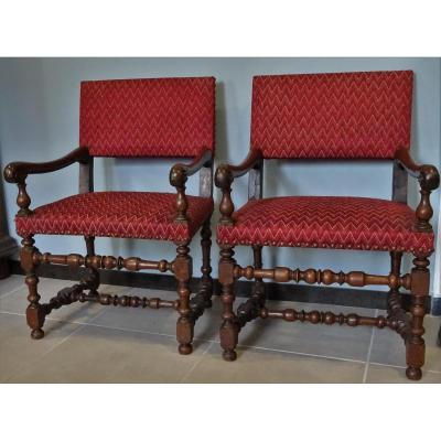 Pair Of Louis XIII Armchairs