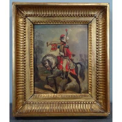 Tableau Représentant Un Cavalier, XVIIIème