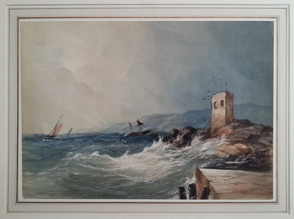 Genoese Tower In Corsica - Watercolor From Nineteenth Century