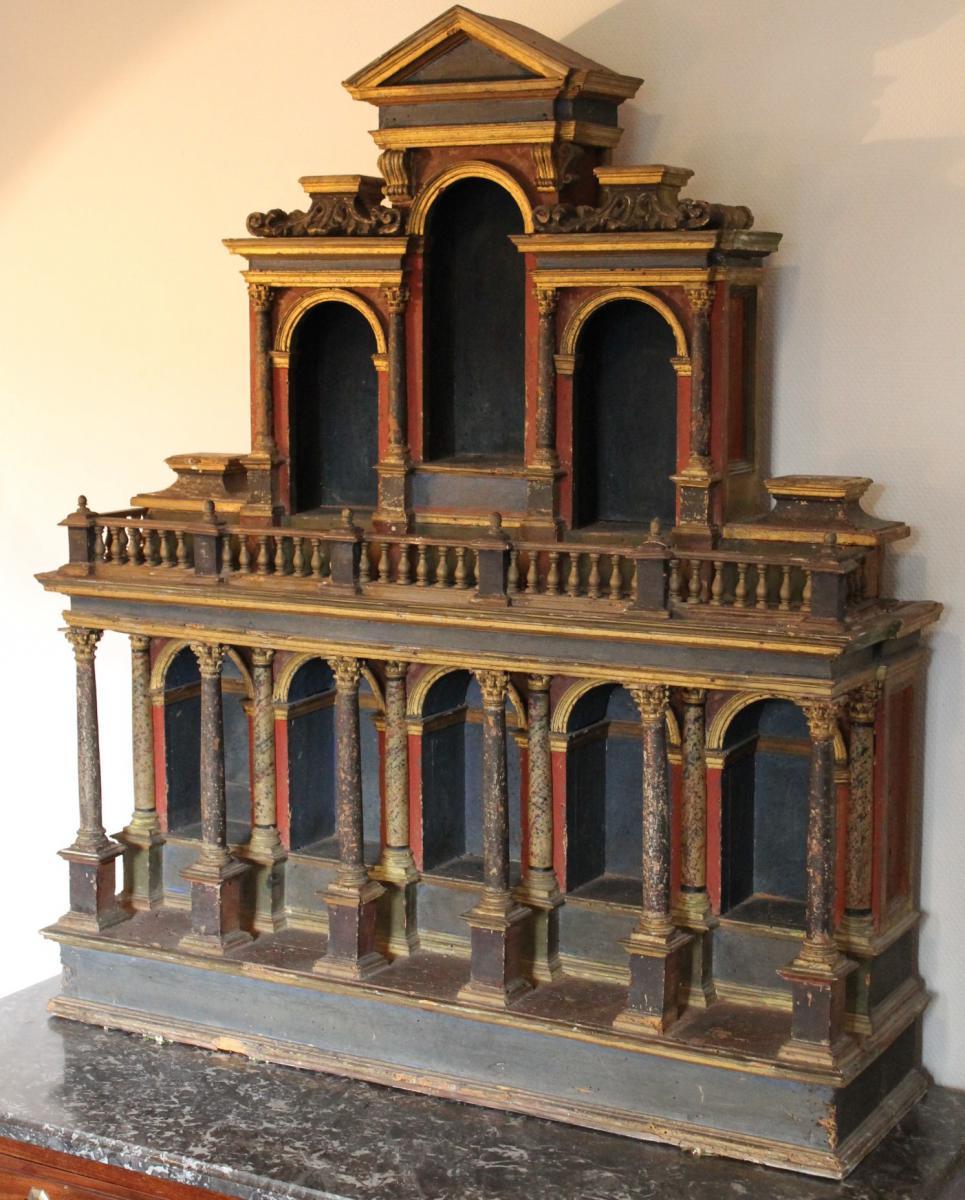 Cabinet de curiosit s italien en bois peint du xvii me for Cabinet de curiosite meuble