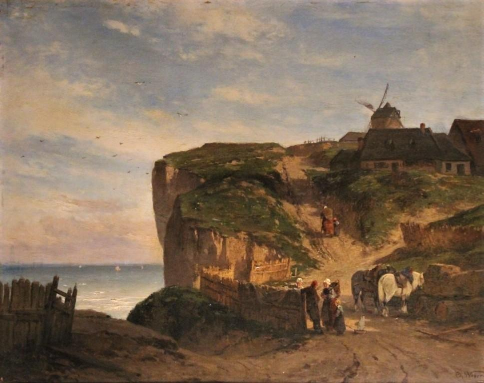 """edge Of Sea In Normandy"", Oil On Panel Nineteenth Century, Signed Th Weber"