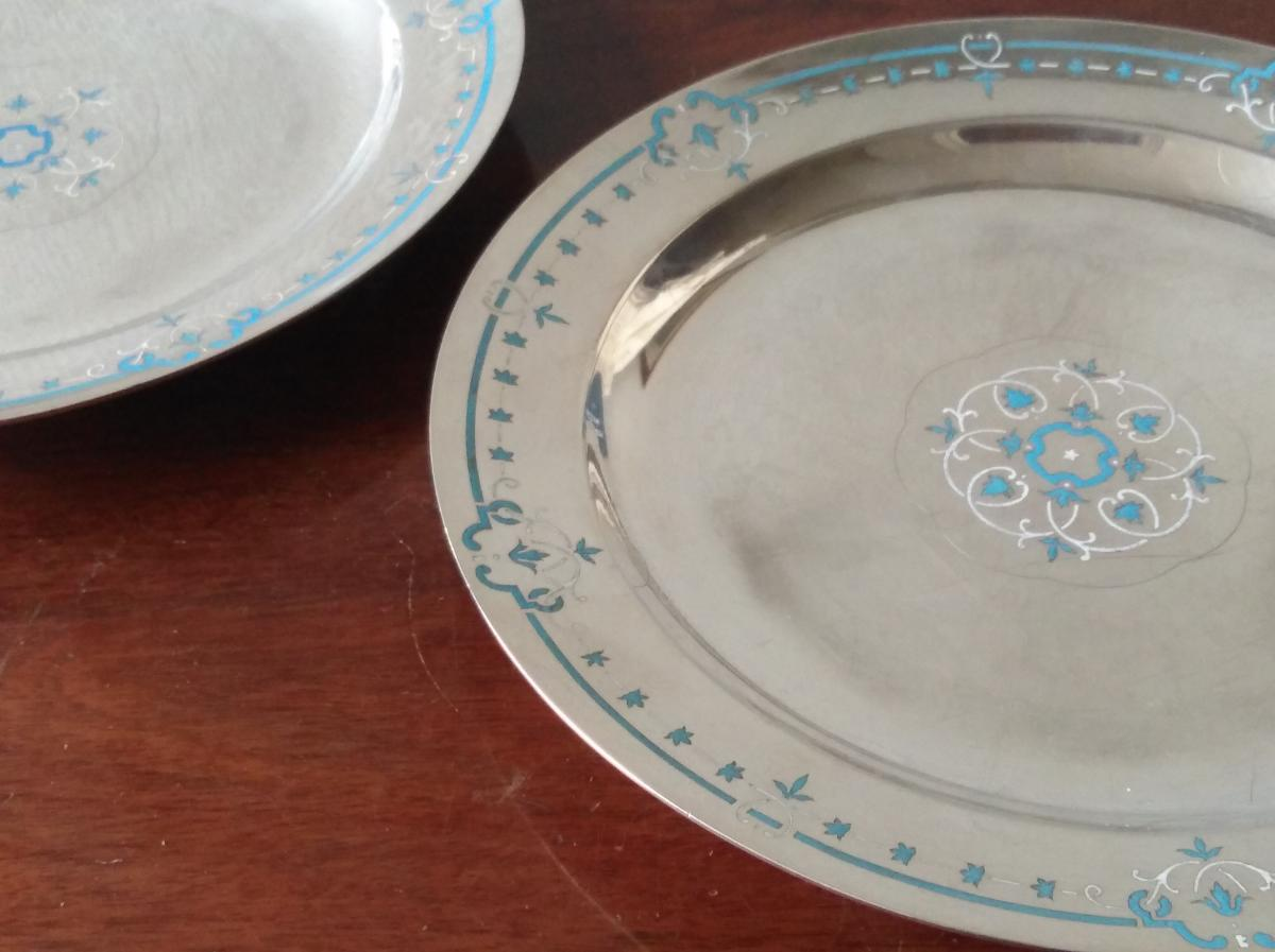 Christofle & Cie, Henri Bouilhet, Pair Of Silver Plated Plates Enameled
