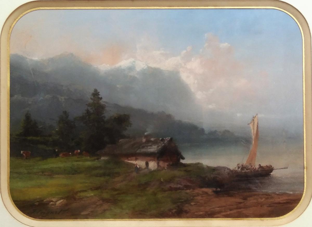 """Jules Coignet, Paysage Animé """"lac De Montagne Suisse"""", Pastel Signé"""