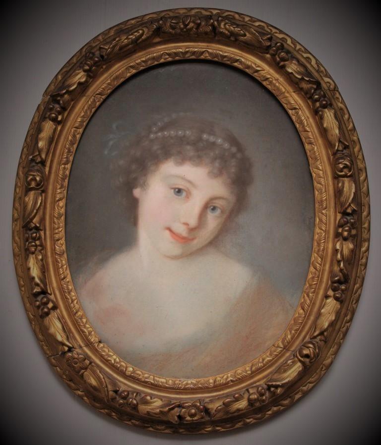 """""""jeune Fille Aux Perles"""", Portrait Au Pastel Du XVIIIe Siècle"""