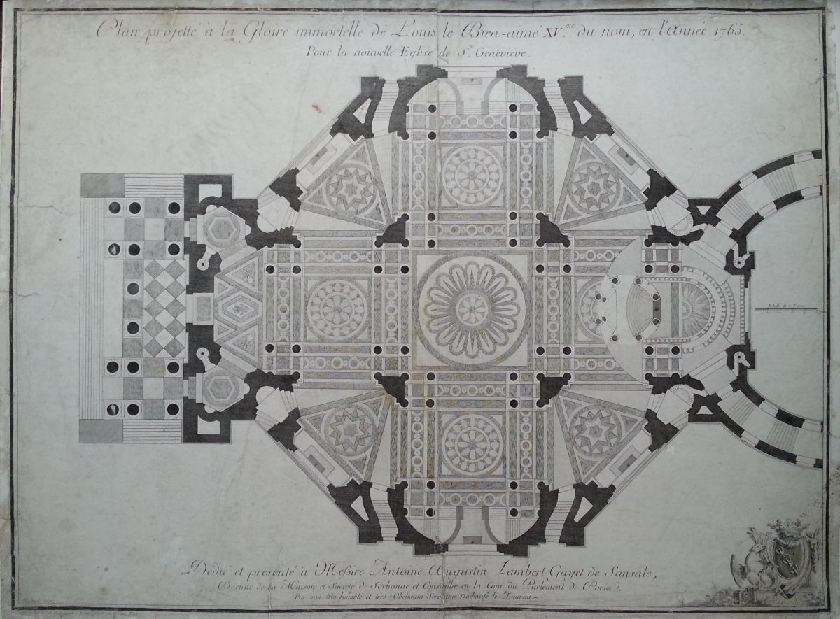 """""""plan Projeté Pour L'eglise De Sainte Geneviève"""" (actuel Panthéon De Paris) Estampe Du XVIIIème"""