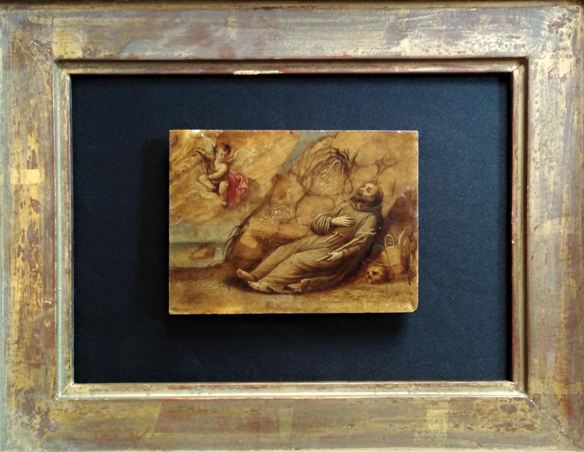 """Peinture sur marbre Italie """"Saint François d'Assise"""""""