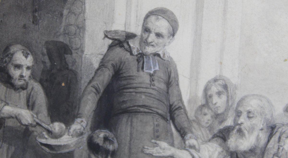 """4 dessins de Karl Girardet Et Paul Pauquet """"Scènes De La Vie De Saint Vincent De Paul"""""""