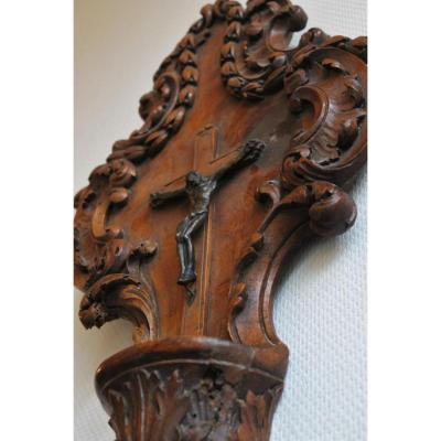 Grand Bénitier crucifix Noyer Bronze Provence Transition