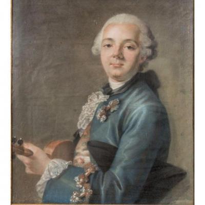 Grand Portrait Au Pastel d'Un Violoniste, école Française Du XVIIIe Siècle