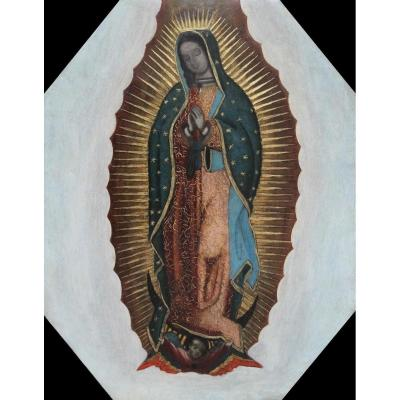 Notre Dame De Guadalupe, Huile Sur Cuivre, Mexique XVIIIe Siècle