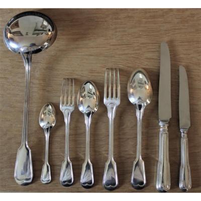Ménagère modèle filet en métal argenté 85 pièces Boulenger