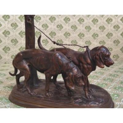Bronze De Chiens Courants, Signé Delabrière, XIXe Siècle