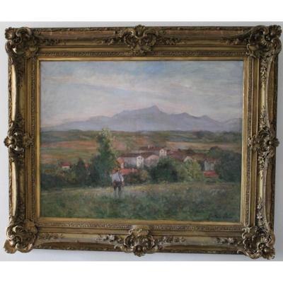 Saint-jean-de-luz La Rhune Grand Tableau signé Gustave Colin