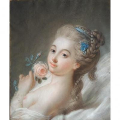 "Pastel ""the Girl With The Rose"" French School Of The Eighteenth Century"