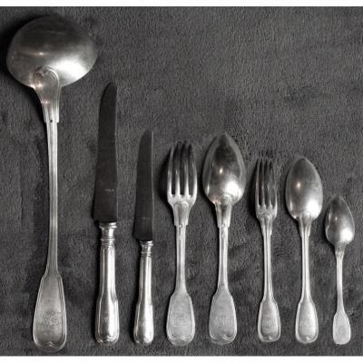 Ménagère, Argent, Filet, Armoriée, Famille De Ganay Et Des Acres