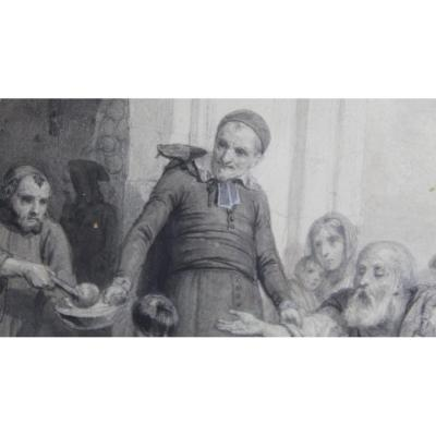 """4 Drawings By Karl Girardet And Paul Pauquet """"scenes From The Life Of Saint Vincent De Paul"""""""