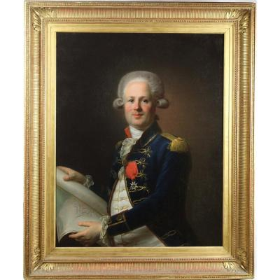 Portrait Of Marine Officer Under Louis XVI French School Of The Eighteenth Century