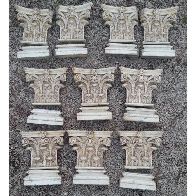 Série De Chapiteaux Corinthiens De Pilastre En Bois Sculpté