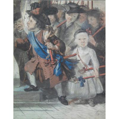 Cornelis TROOST , Enfants Déguisés, Gouache XVIIIème Siècle