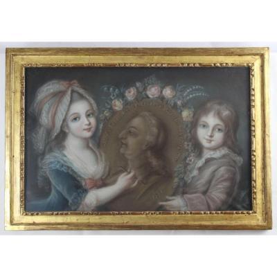 """""""Louis XVII et Madame Royale dessinant leur Père"""" Pastel signé et daté """"J. Prevost 1790"""""""