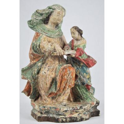 """""""Sainte Anne et la Vierge"""" XVIIIe siècle bois sculpté et polychromé"""